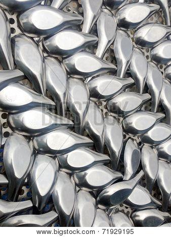 metal spoons
