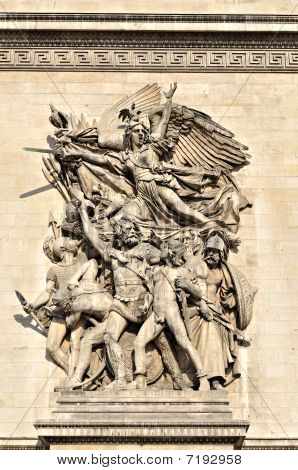 A detail of the Arc de Triomphe, Paris
