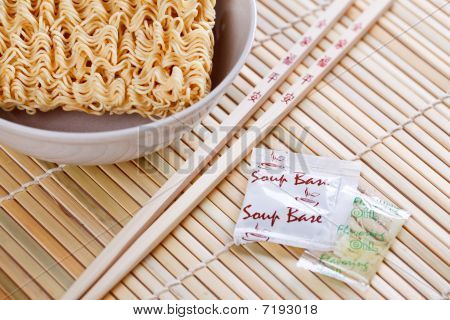Dried Chinese Noodles And Chopsticks
