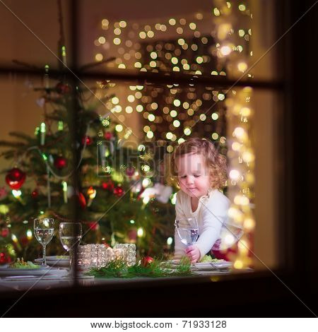 Little Girl At Christmas Dinner