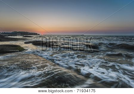 Coastal city, dalian, China, sunrise