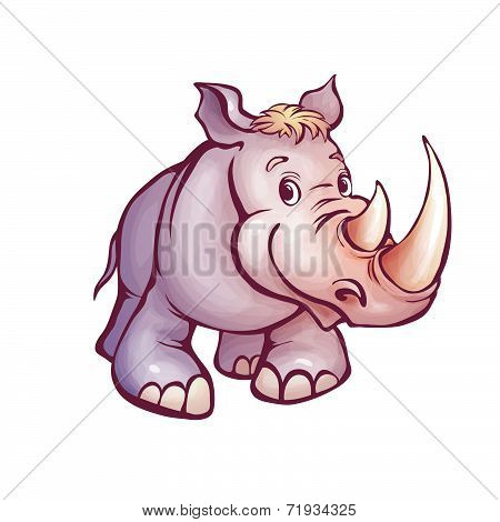 Vector illustration of rhino in cartoon style
