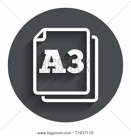 Paper size A3 standard icon. Document symbol.