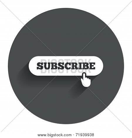 Subscribe with hand pointer icon. Membership