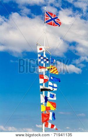 Flags On Flagpole