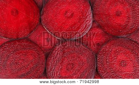 Closeup of sliced ripe beet.