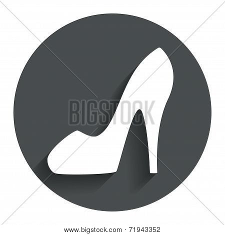 Women's shoe sign icon. High heels shoe.