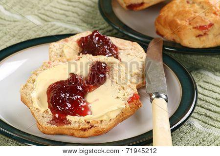 Cherry Scones With Jam