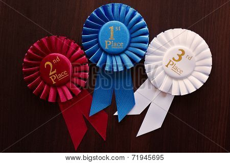 Three Winners Rosettes