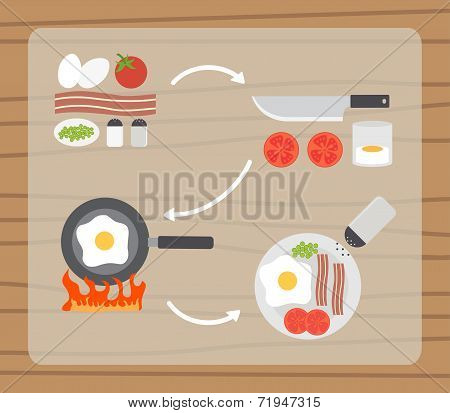 Fried eggs making process, preparing food icons set. Flat design vector.