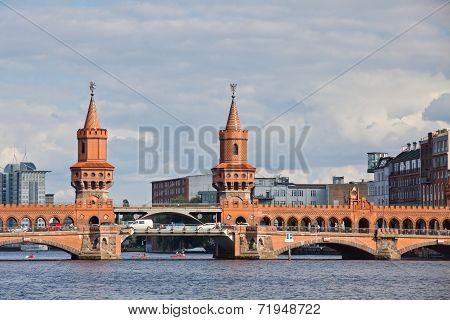 Oberbaumbrucke Bridge Across The Spree River In Berlin