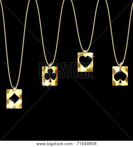 pendant card suit clubs