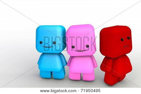 Happy Couple And A Mad Third Person Concept With 3D Illustration