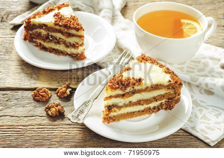 Carrot Cake With Raisins, Walnuts And Butter Cream
