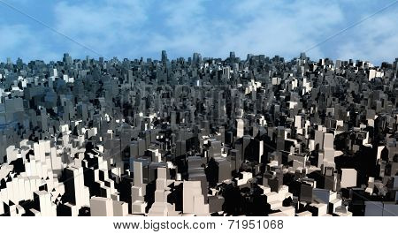 3d abstract blocks city