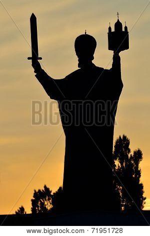 Silhouette Of Monument To Nicholas The Wonderworker. Kaliningrad, Russia