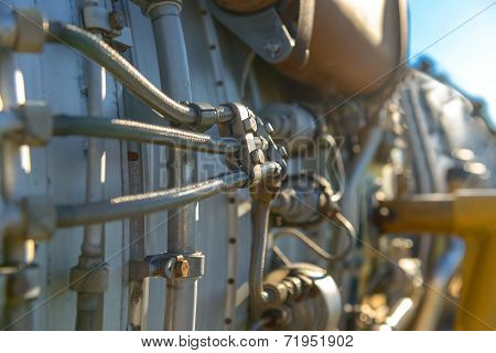 Jet Engine Of A Fighter Plane Closeup