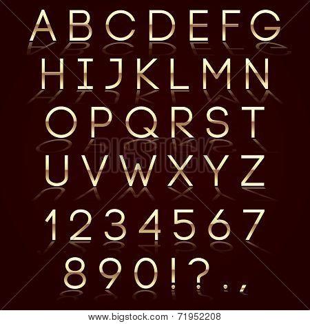 Vector golden alphabet with reflection on dark background