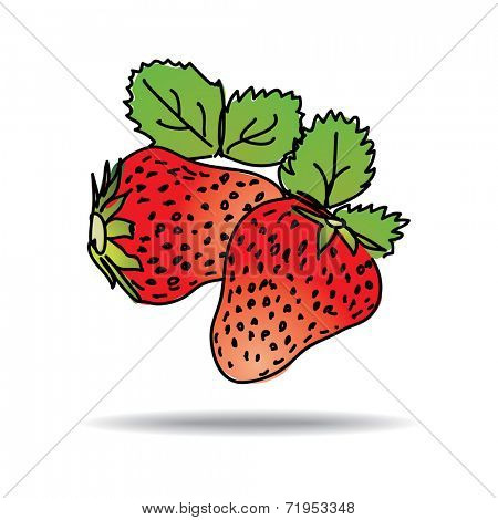 Freehand drawing strawberry icon - vector eps 10 illustration