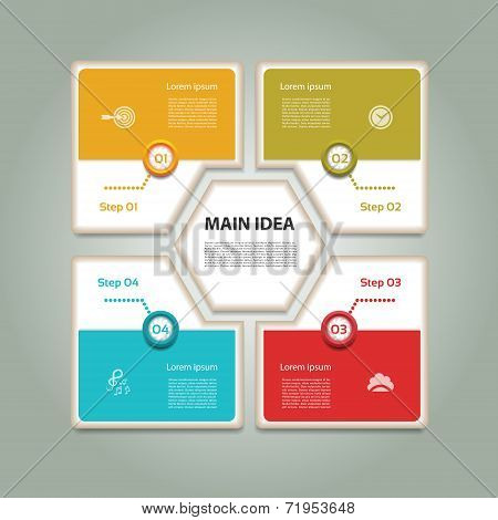 Cyclic diagram with four steps and icons. Infographic vector background.