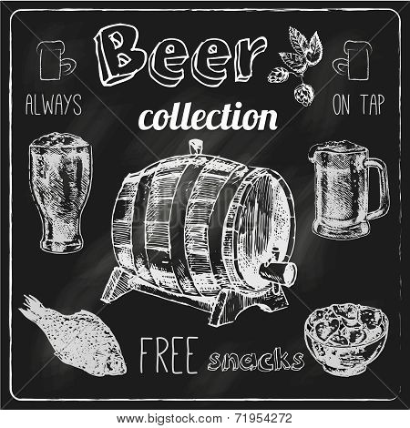Beer icons blackboard set
