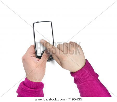Modern Touchscreen Mobile Phone With Blank Screen