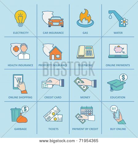 Pay Bill Icons Flat Line