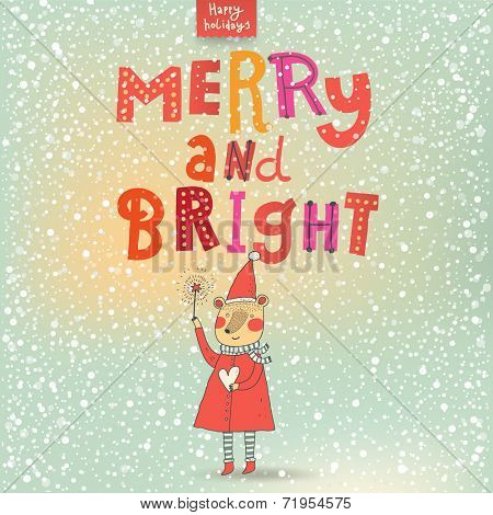 Merry and Bright card in cartoon style. Beautiful holiday background with Santa bear under snowfall in stylish colors in vector