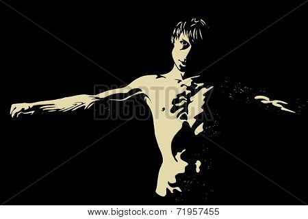 Insolent young man in crucified pose, vector