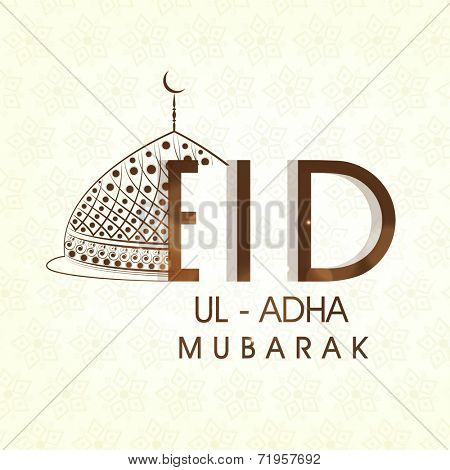 Muslim community festival Eid-Ul-Adha Mubarak celebrations greeting card design with floral decorated mosque on beige background.