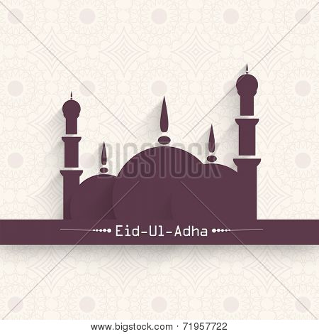 Muslim community festival Eid-Ul-Adha festival celebrations with mosque design on seamless floral decorated background.
