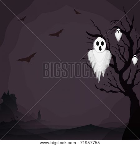 Horrible night background with ghost, flying bat and dead tree branches for Halloween trick or treat party celebrations.