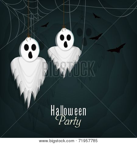 Halloween night party poster, banner or flyer design with hypothetical traditional ghost hanging by spider web on dark green background.