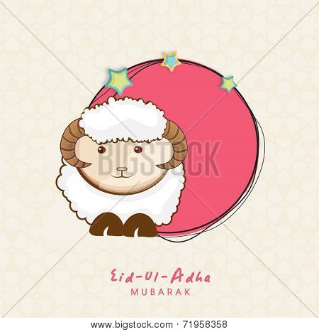 Muslim community festival of sacrifice Eid-Ul-Adha greeting card or background with sheep on abstract beige background.