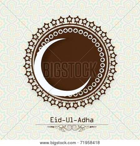Muslim community festival Eid-Ul-Adha celebrations with stars decorated brown label and crescent moon floral decorated beige background.