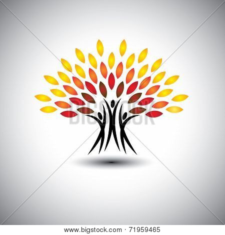 Happy, Joyous People As Trees Of Life - Eco Concept Vector.