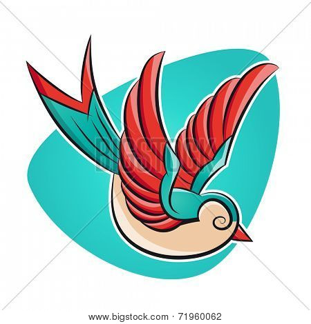 swallow in tattoo style