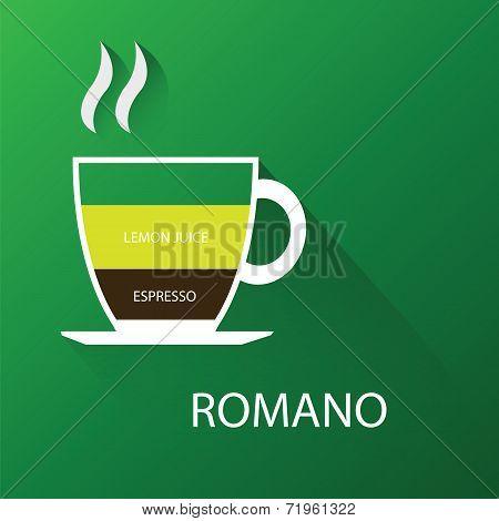Type of romano coffee. Vector illustration