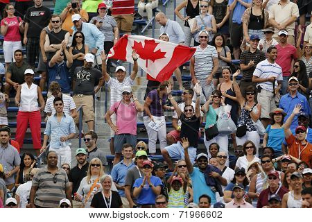Canadian tennis fans celebrate win by  Miols Raonic after third round match at US Open 2014