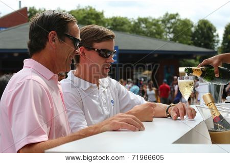 US Open 2014 visitors at Moet and Chandon champagne lounge at the National Tennis Center