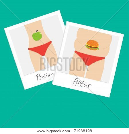 From skinny to fat woman. Healthy unhealthy food apple hamburger Before after instant photo. Flat de