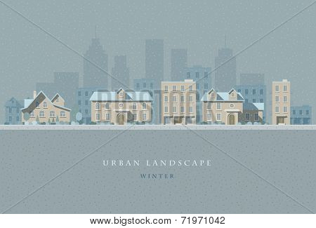 Vector flat illustration of winter snowly city landscape. Elements are layered separately in vector file. Easy editable.