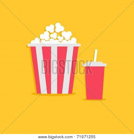 Popcorn And Soda With Straw. Cinema Icon In Flat Dsign Style.