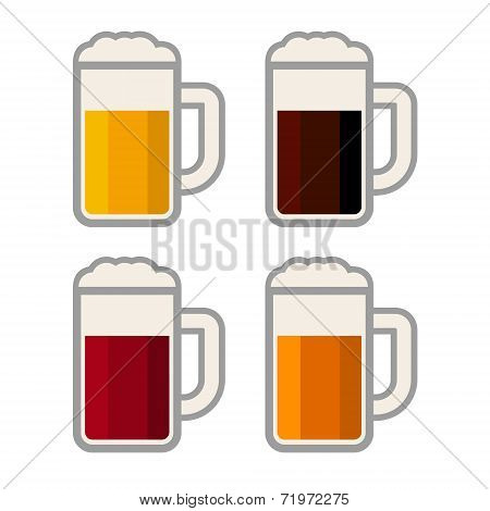 Four Glasses with Different Color Beers on White Background. Vector