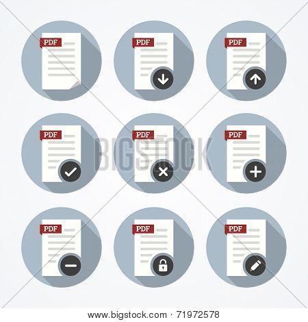 Pdf Documents Icons Set.