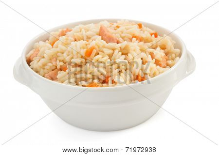 bowl full of rice isolated on white background