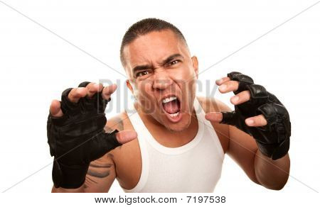 Hispanic Man With Boxing Gloves