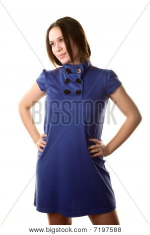 Pretty Woman In Blue Dress