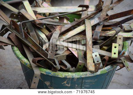Used roof hooks in bucket