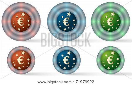 Set Of Six Icons With Euro Symbol